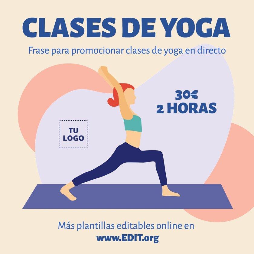 Plantilla para editar online y promocionar clases de yoga