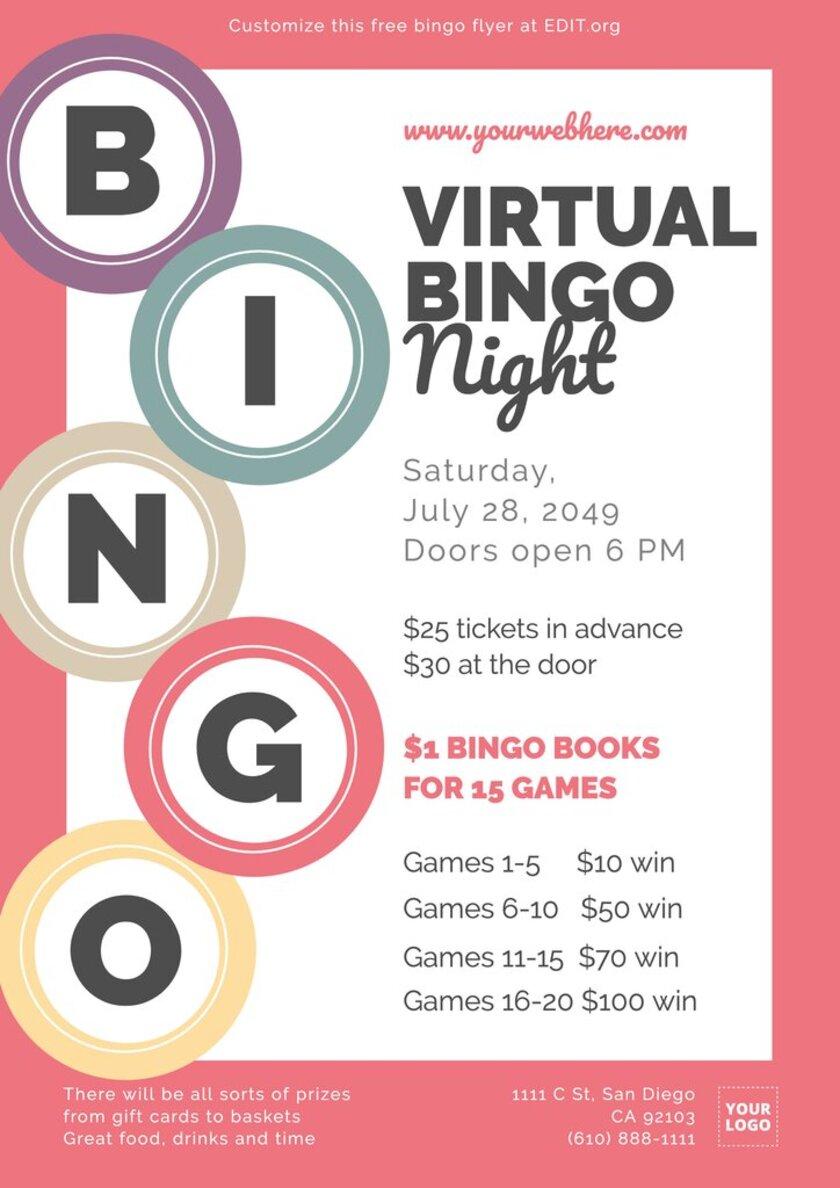 Free virtual bingo flyer template