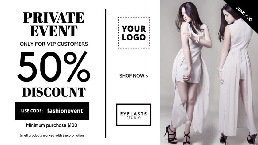 Fashion event editable template with discounts
