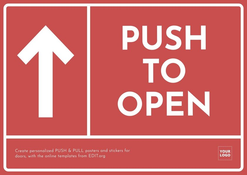 Editable PUSH TO OPEN sign template