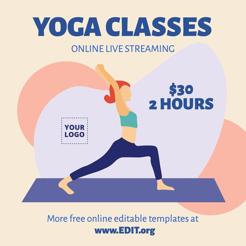 Online and editable template to custom online for free to promote your Yoga Classes