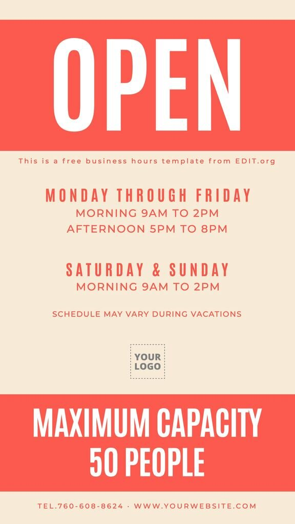 Editable business hours sign with maximum capacity