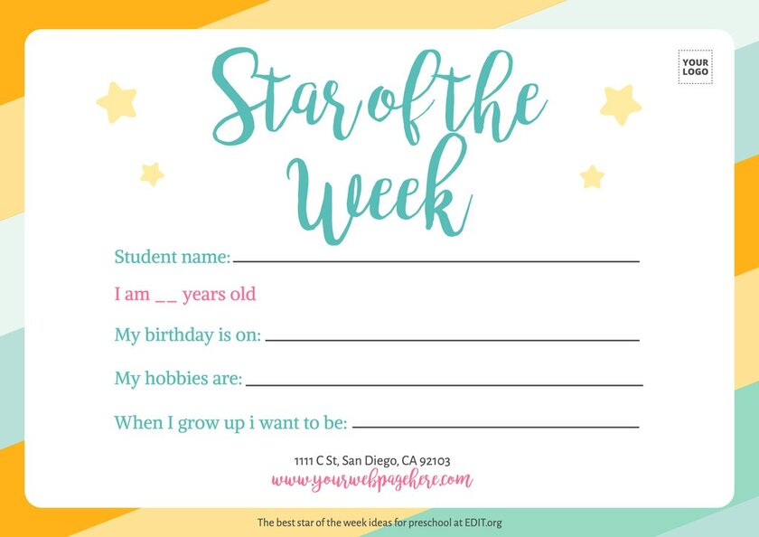 Customizable student of the week templates