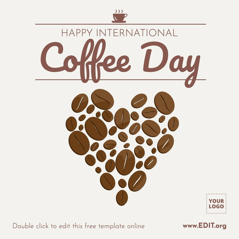 Happy International Coffee Day greeting card template to edit online