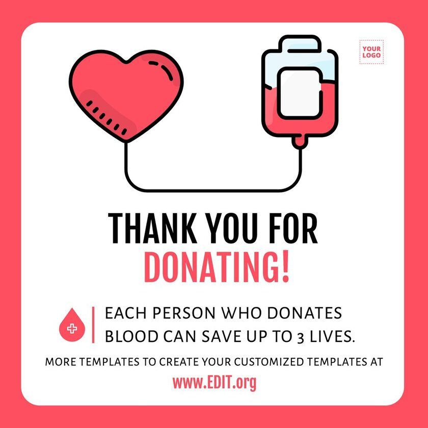 Thank you template for blood donors, customizable online for free