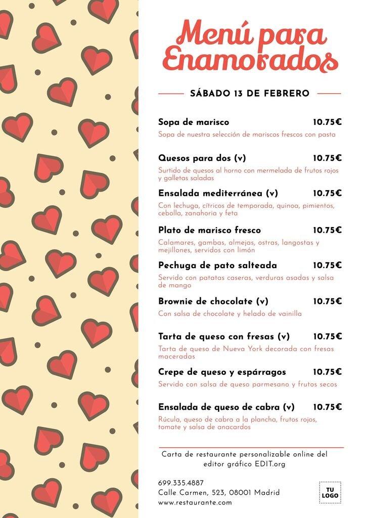Plantilla de menú de San Valentín personalizable para restaurantes