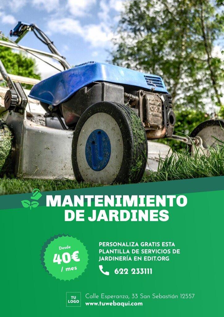 Flyer editables online para promocionar servicios de jardineria