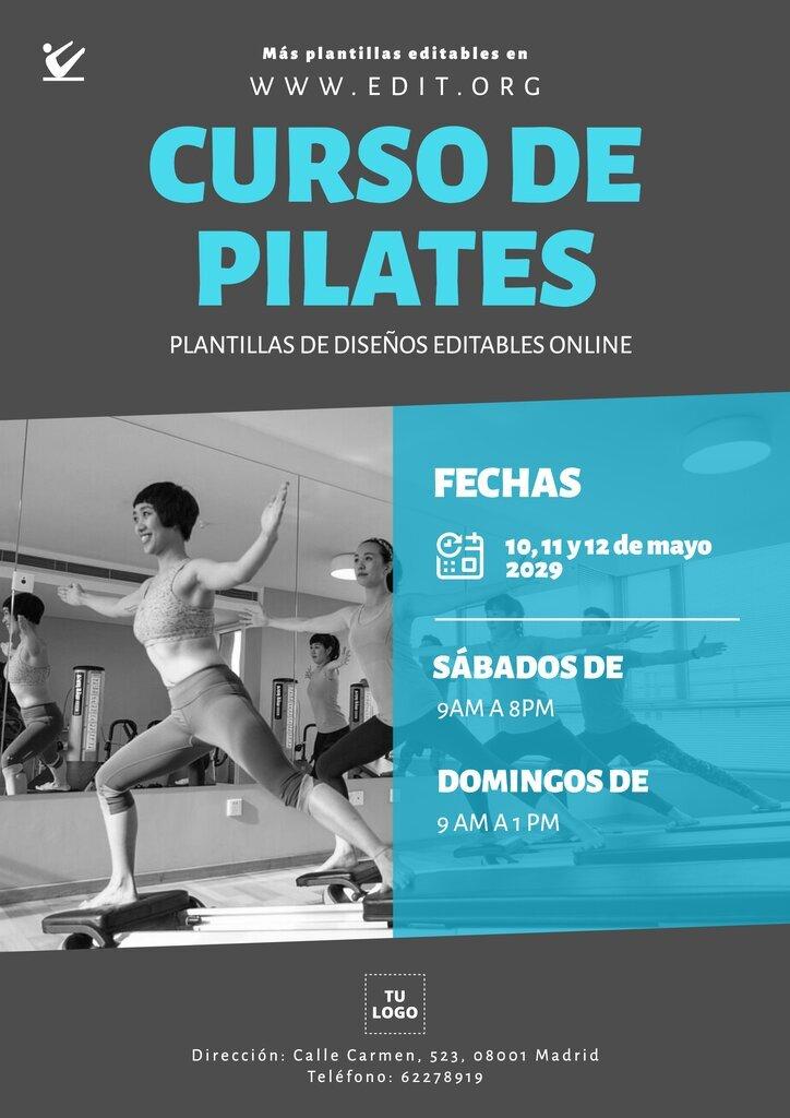 Plantilla editable para promocionar clases y cursos de un estudio de Pilates