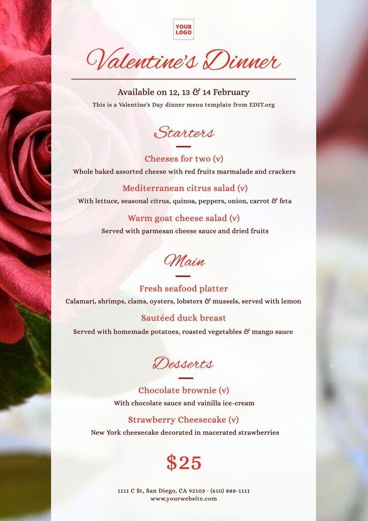 Editable Valentine menu template free download