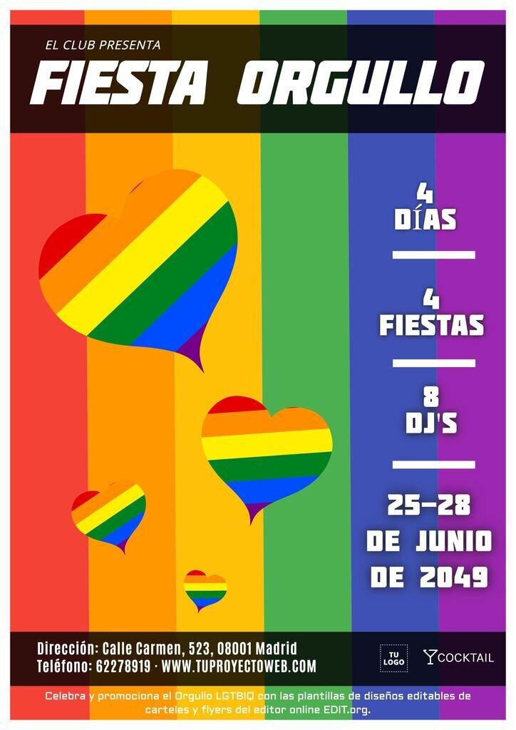 Cartel editable para fiesta del orgullo gay
