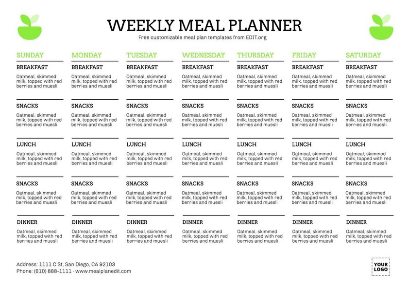 Free weekly meal planner template to customize online