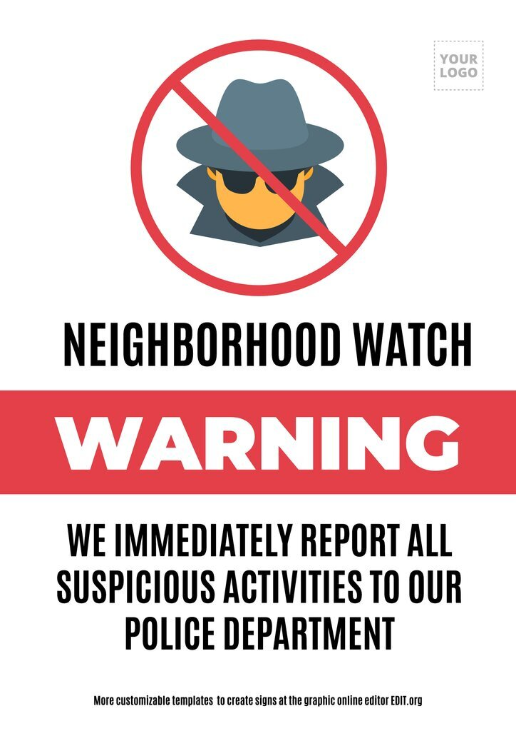 Neoghborhood Watch sign template customizable online