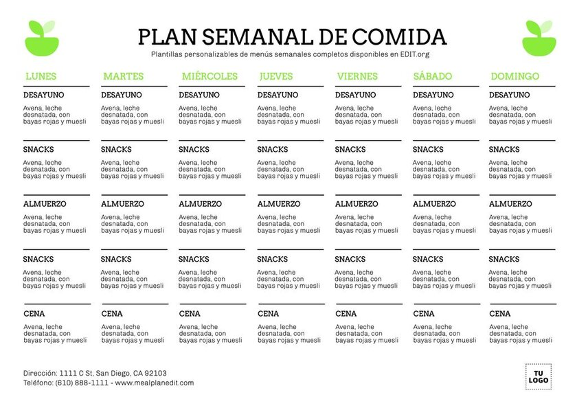 Planificador de comidas semanal editable online