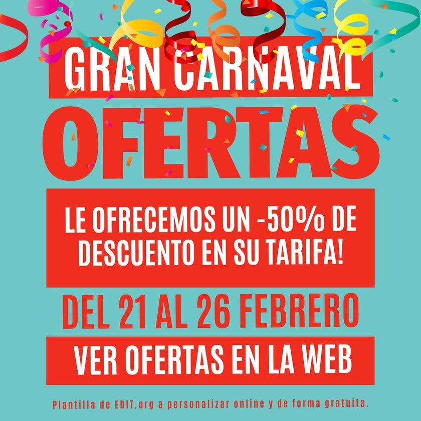 Carteles de carnaval unicos para tiendas a editar online