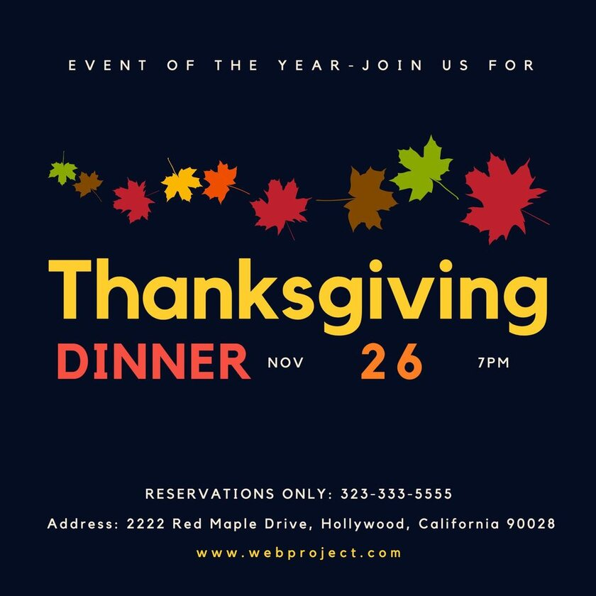 Thanksgiving dinner invitation event of the year
