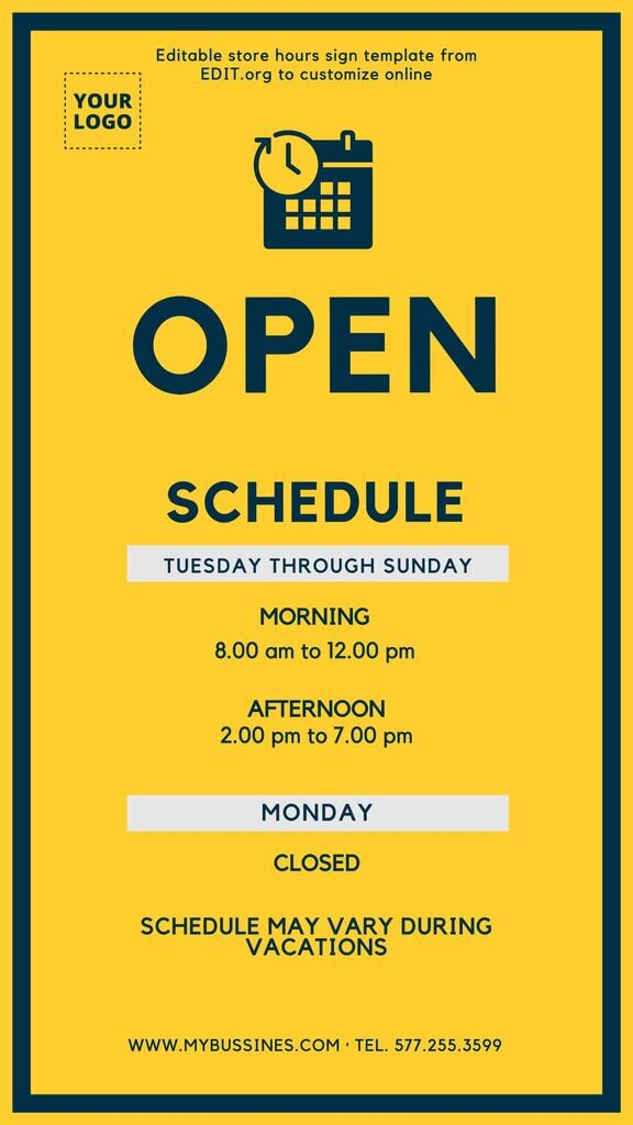 New store hours sign to edit online for free