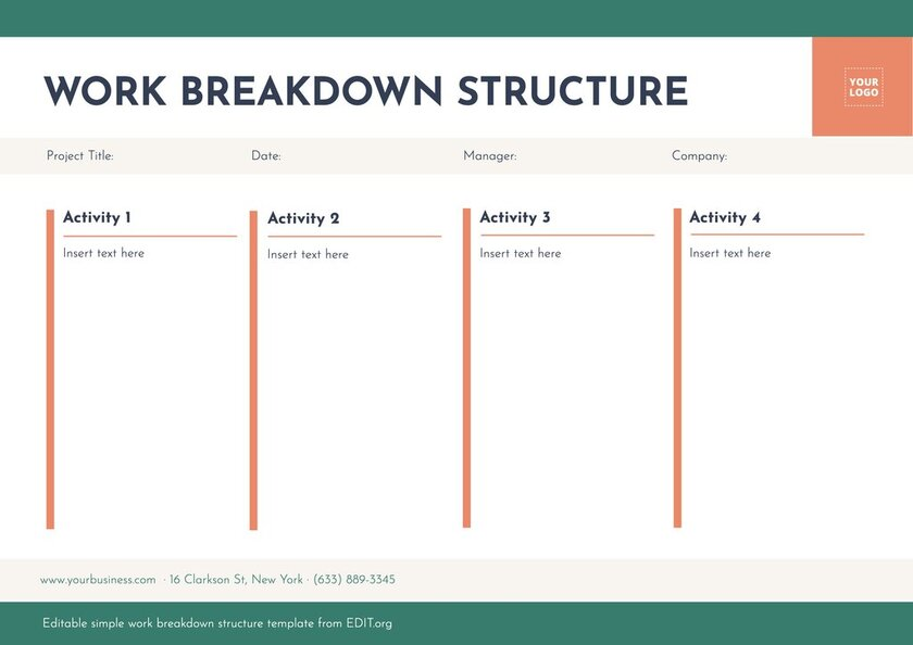 Editable wbs project management template