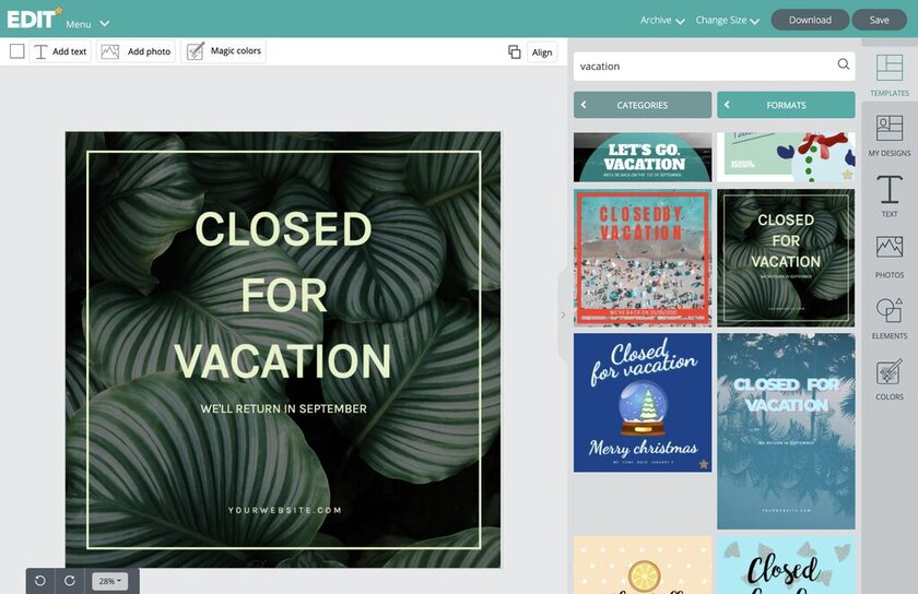 EDIT online graphic editor with thousands of editable designs - Closed for vacation and holidays templates