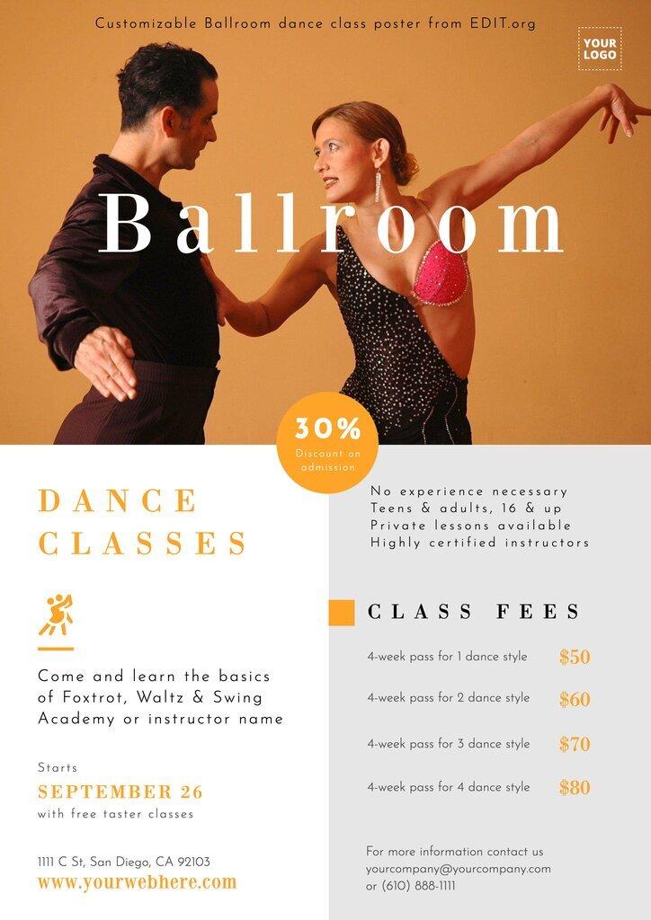 Editable ballroom dance school poster