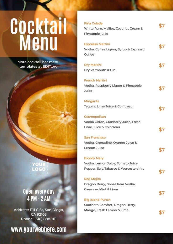 Free online cocktail menu maker