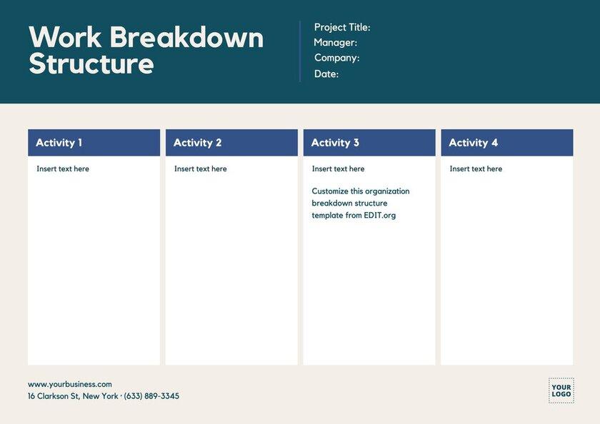 Customizable free work breakdown template