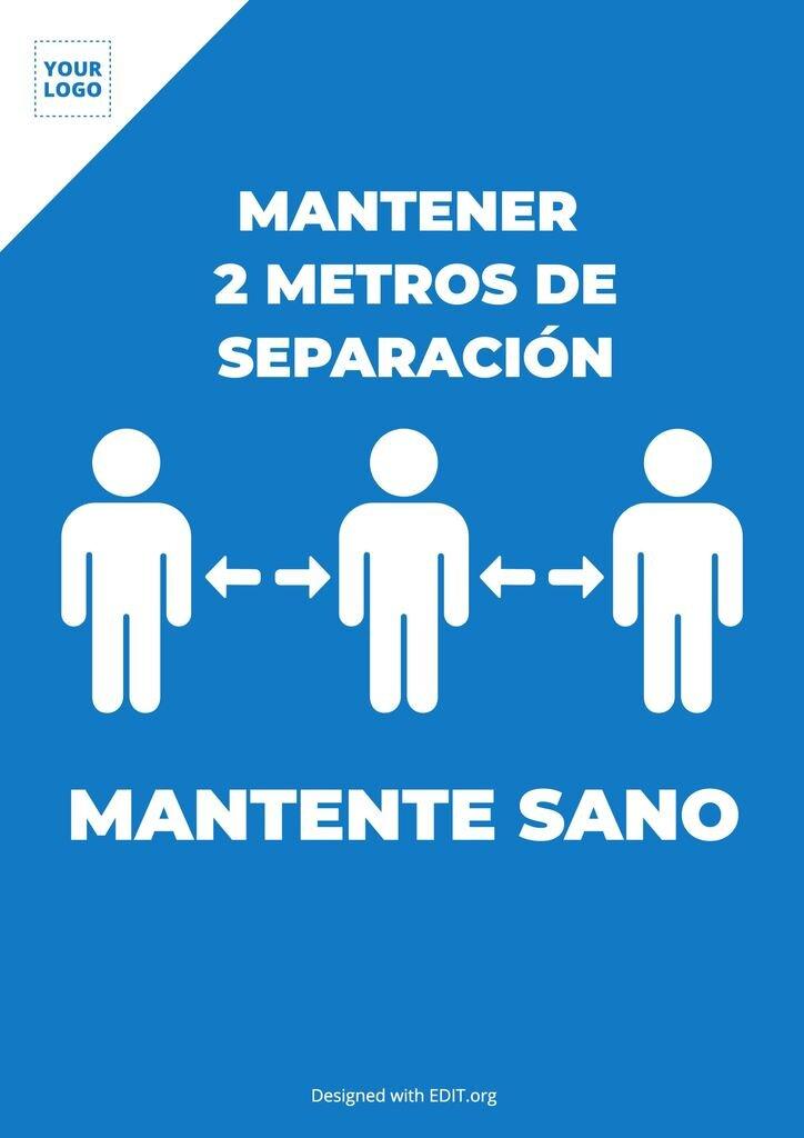 Cartel gratis mantener separación personas