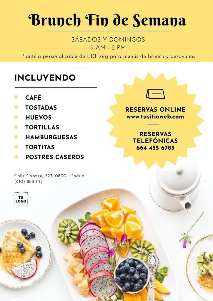 Plantillas de cartas para desayunos personalizables para restaurantes