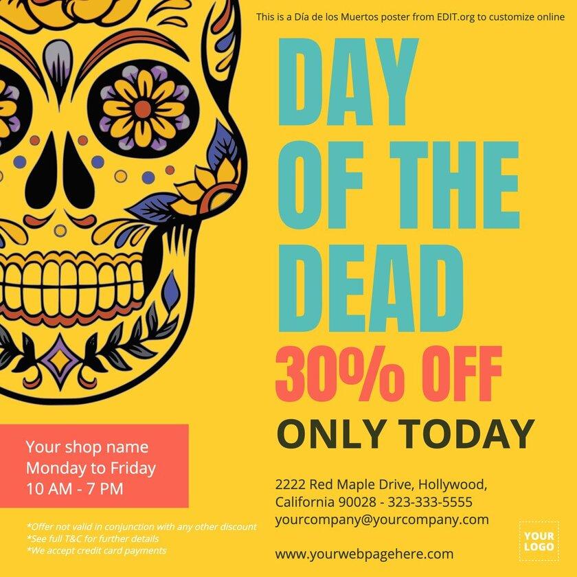 Editable banner for Dia de los Muertos offers and discounts