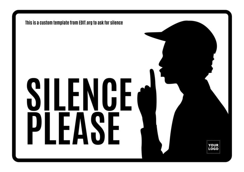 Silence please poster template for library, office or church to edit and print