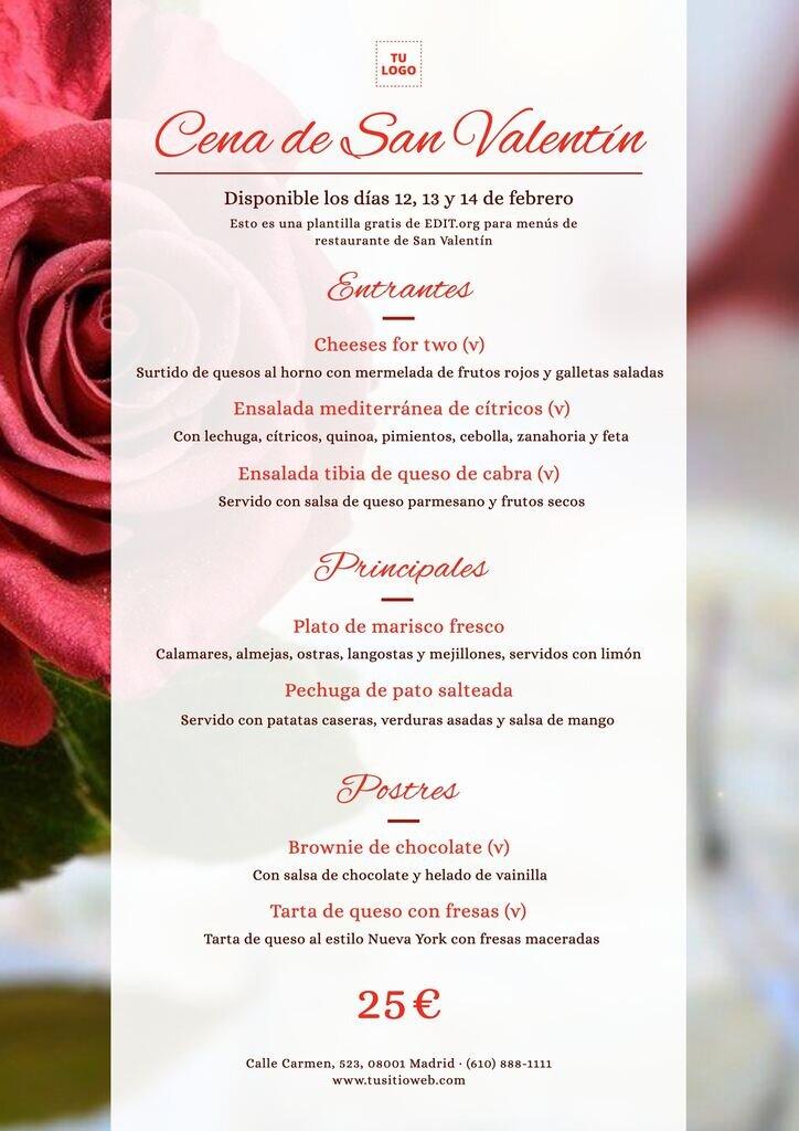 Plantilla personalizable para carta de restaurante para San Valentín