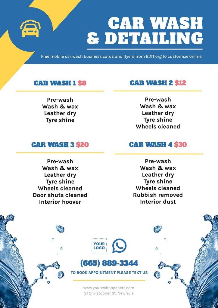 Customizable car wash leaflets