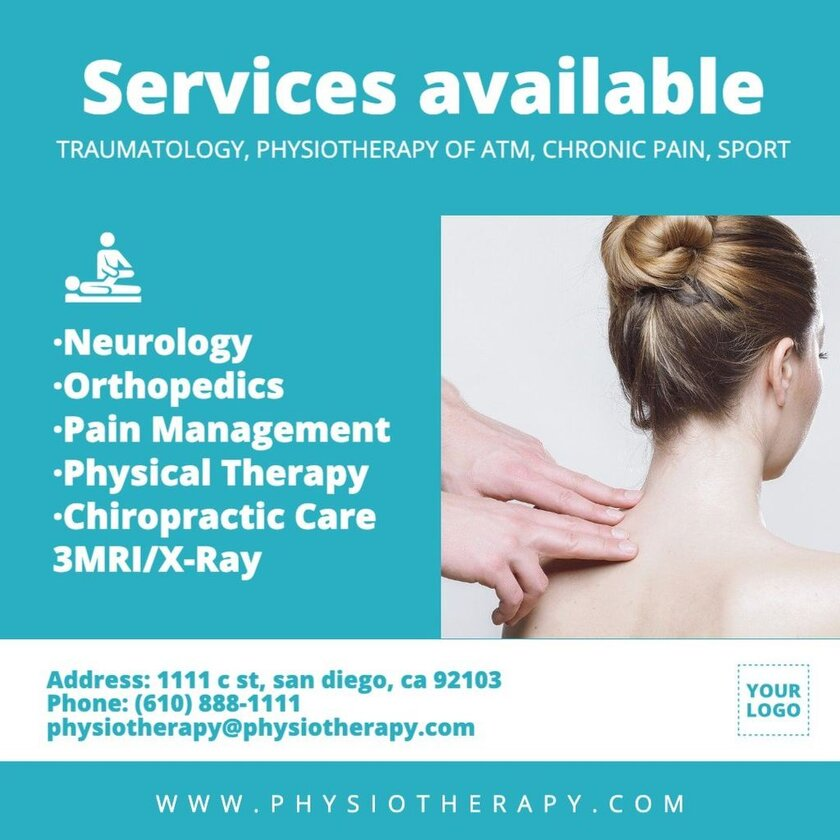 Editable template with services for physical therapy