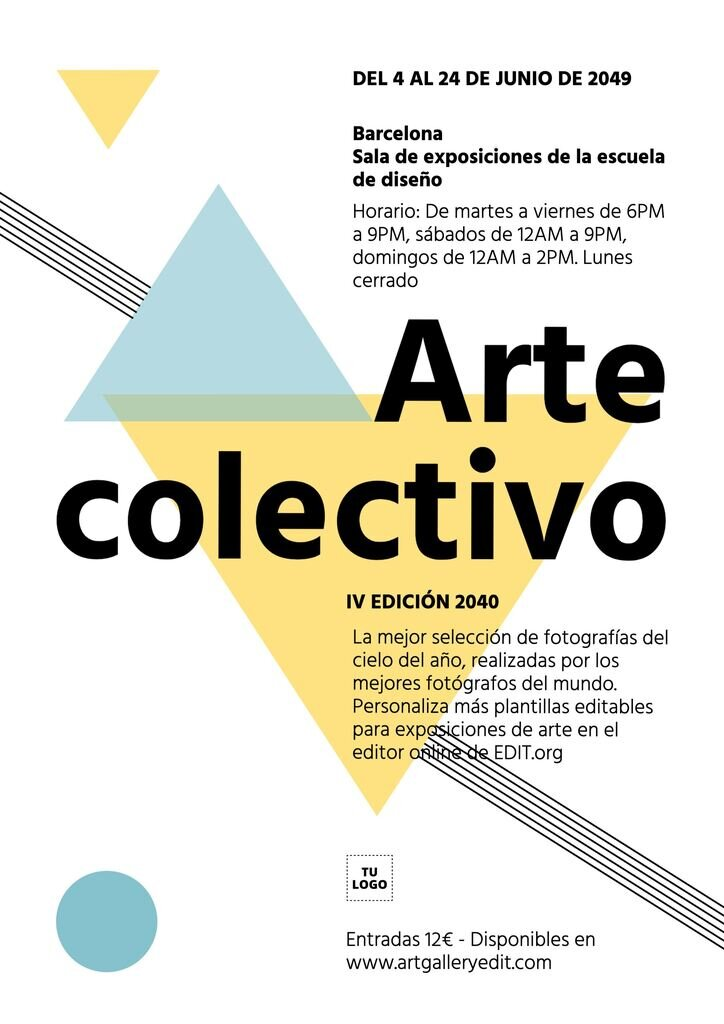 Cartel editable para exposición de arte colectiva con figuras geométricas