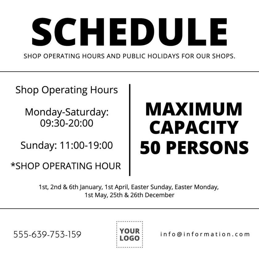 Schedule and Maximum capacity template