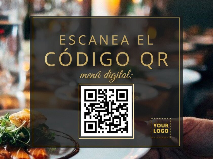 Menú de restaurante con código QR para imprimir