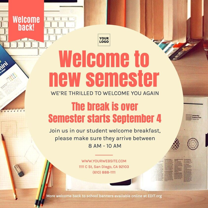 Editable welcome banner for new students