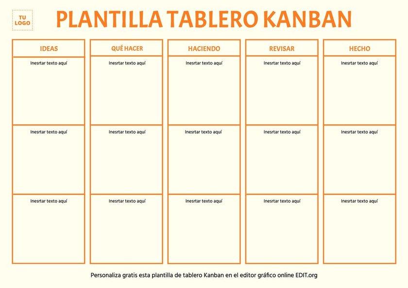 Plantilla editable online de tablero Kanban para imprimir