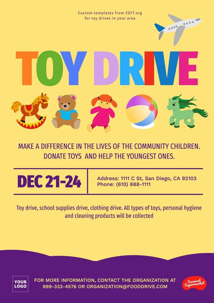 Flyer for donation drive to customize online for free