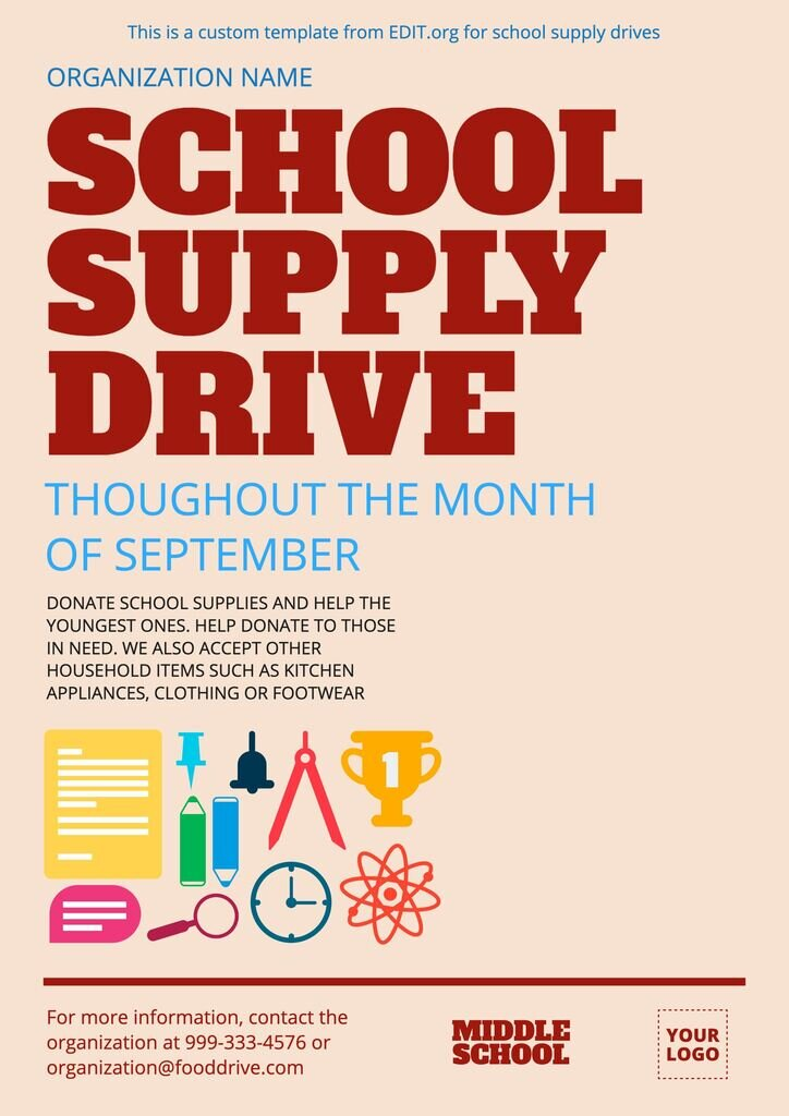 School supplies drive flyer template for free