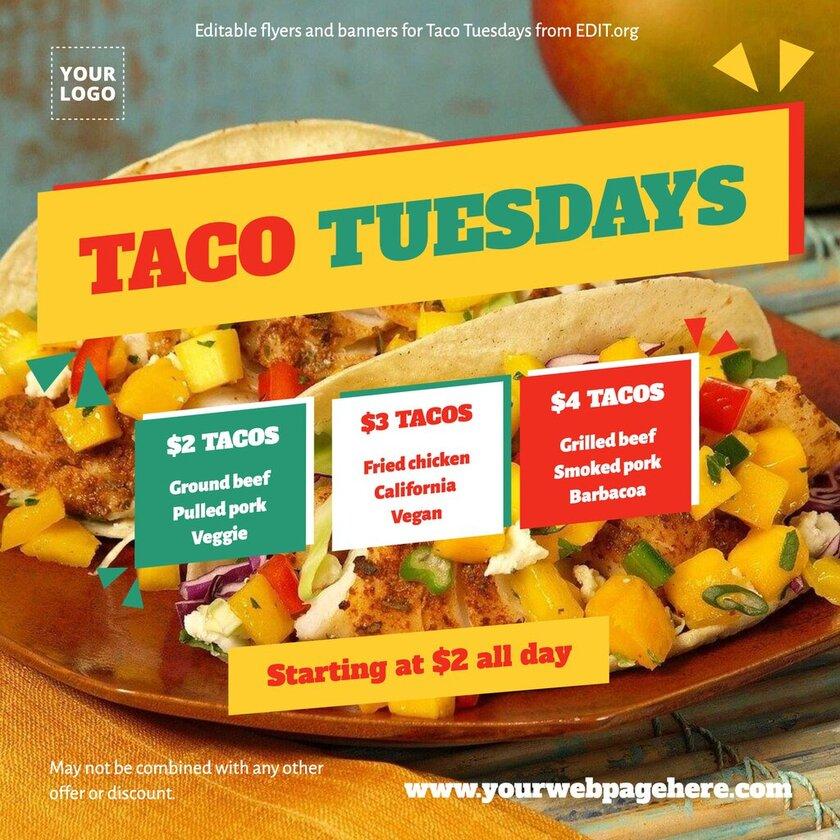 Custom taco restaurant designs to print