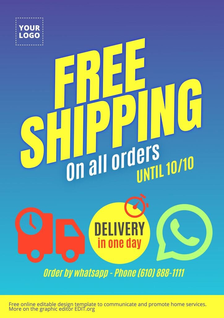 Free shipping poster to edit online on the graphic editor EDIT.org