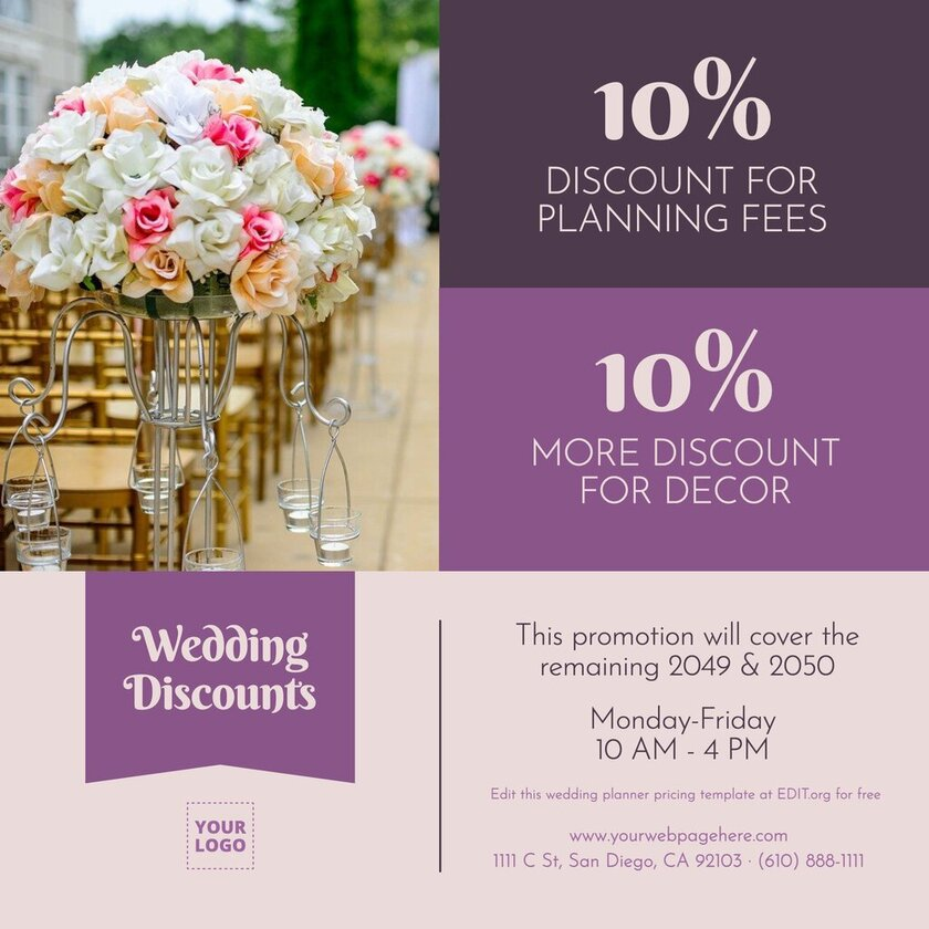 Banners and business cards for wedding planners