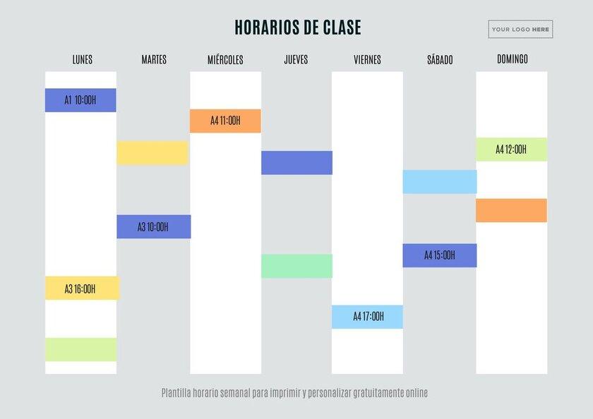Plantillas de horario escolar para imprimir gratis y online