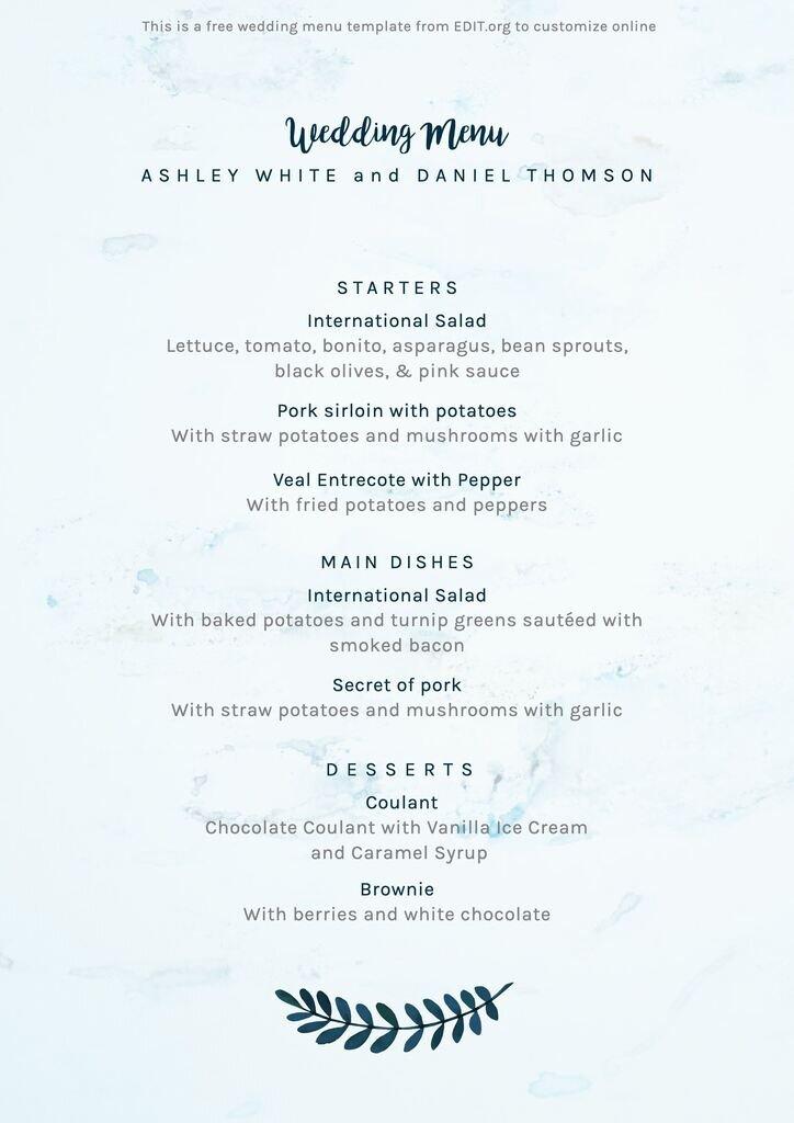 Editable wedding menu design to download