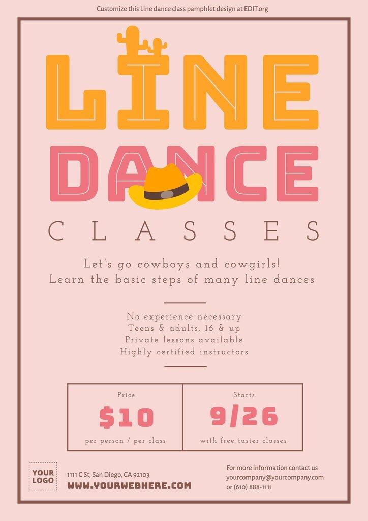 Customizable templates for line dance classes