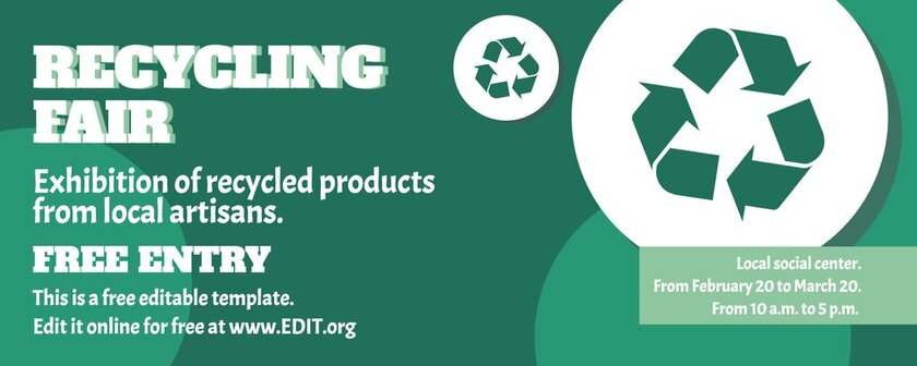 Recycling event template to personalize online for free
