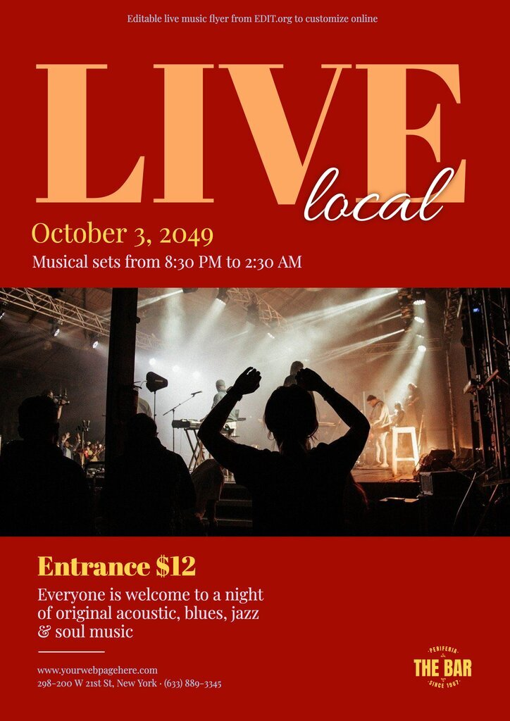 Custom live band flyer for pubs