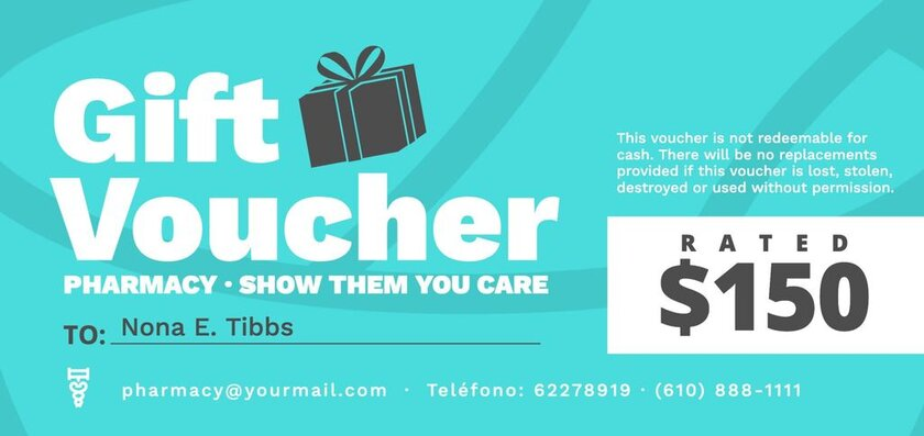 Gift voucher template for pharmacies to edit online and customize