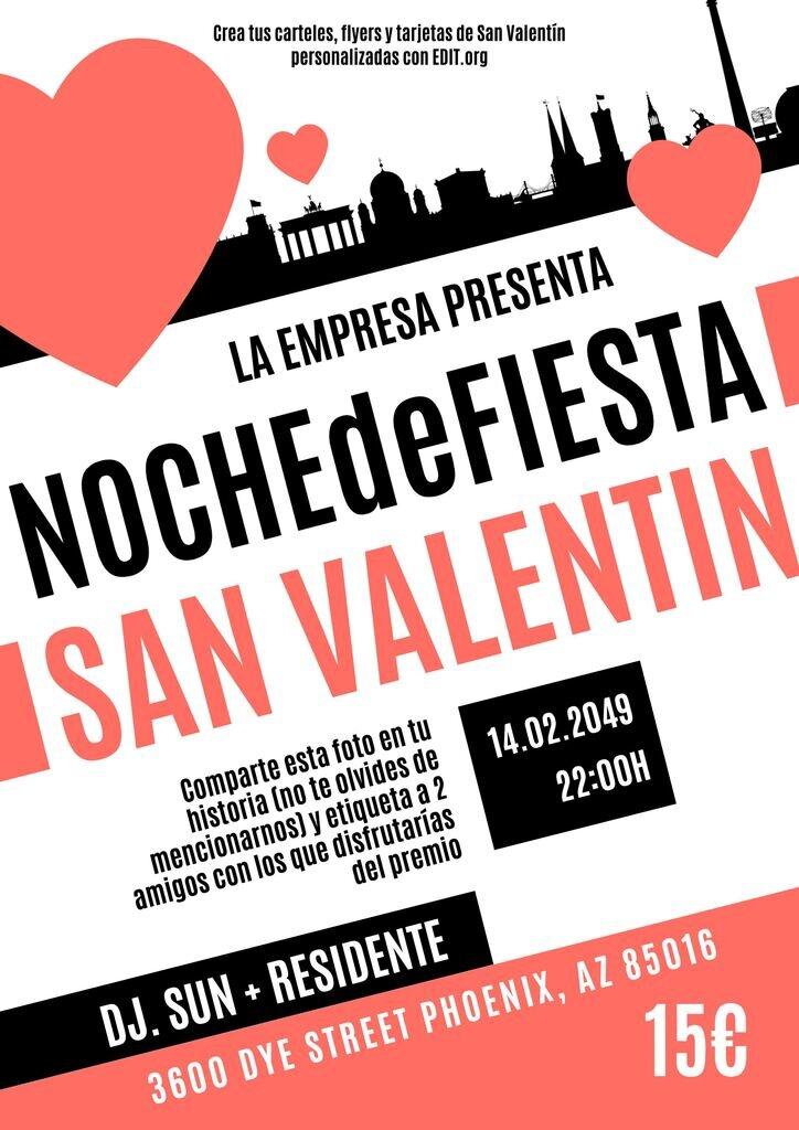 Carteles de San Valentín personalizables online para fiestas