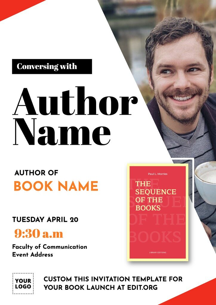 Book Launch Invitation banner template to custom online for free